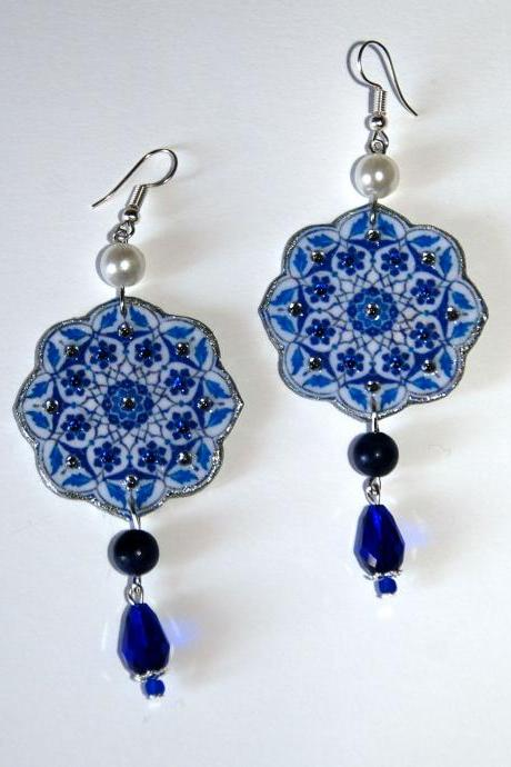 Iznik blue earrings